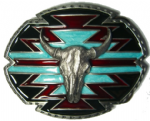 BUFFALO SKULL ON AZTEC DESIGN (2) BELT BUCKLE + display stand